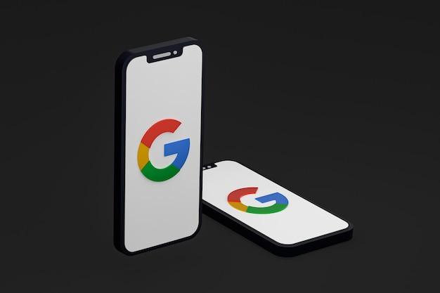画面のスマートフォンまたは携帯電話の 3 d レンダリング上の google アイコン