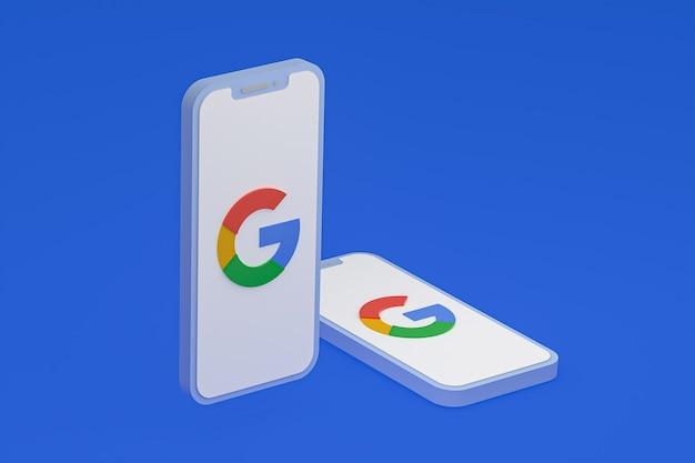 画面上のスマートフォンまたは携帯電話の3dレンダリング上のgoogleアイコン