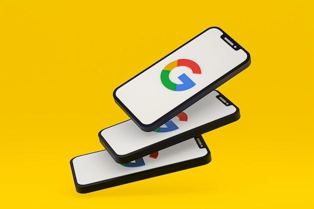 화면 스마트폰 또는 휴대 전화 3d 렌더링의 google 아이콘