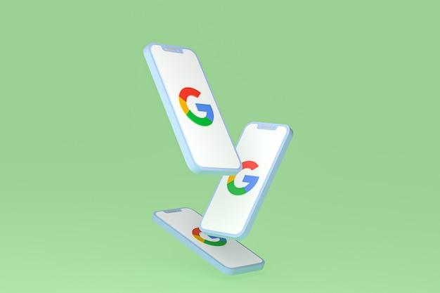 Значок google на экране смартфона или мобильного телефона 3d визуализации