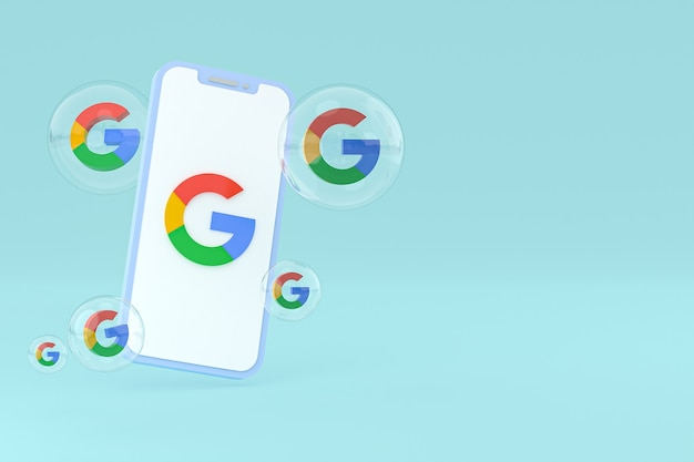 Google icon on screen smartphone or mobile phone 3d render