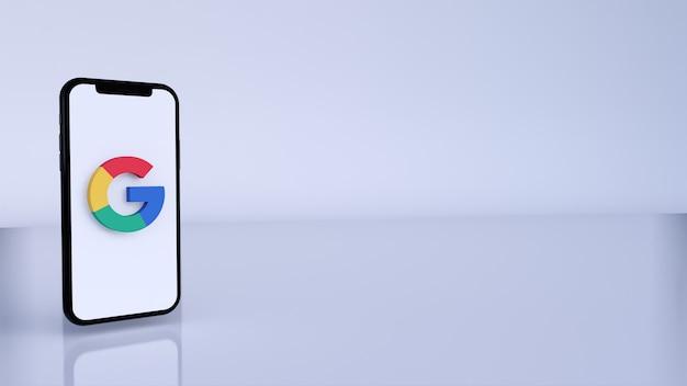 구글 로고 3d 렌더링. 전화상의 소셜 미디어 알림