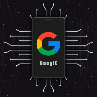 기술 배경 3d에 전화 화면에 google 로고 아이콘