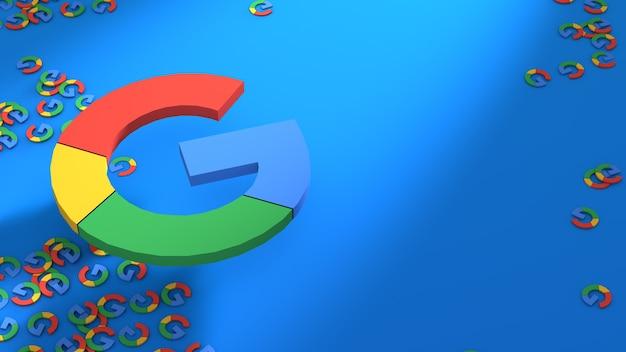 青い背景の上のgoogleロゴ