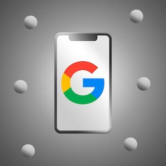 電話スクリーンの3dレンダリング上のgoogleロゴ