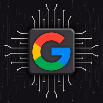 Google logo on realistic cpu technology background 3d