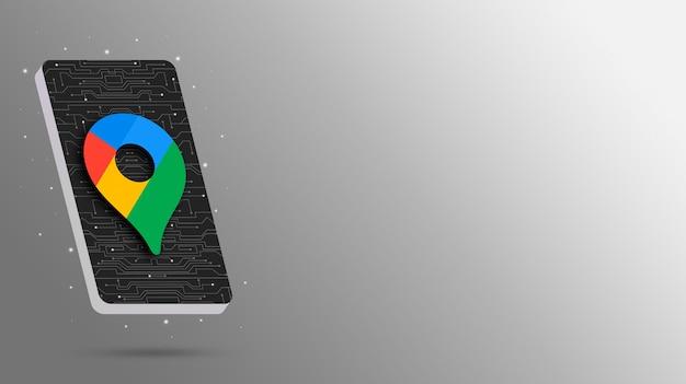 技術的な電話ディスプレイの3dレンダリング上のgoogleマップのロゴ