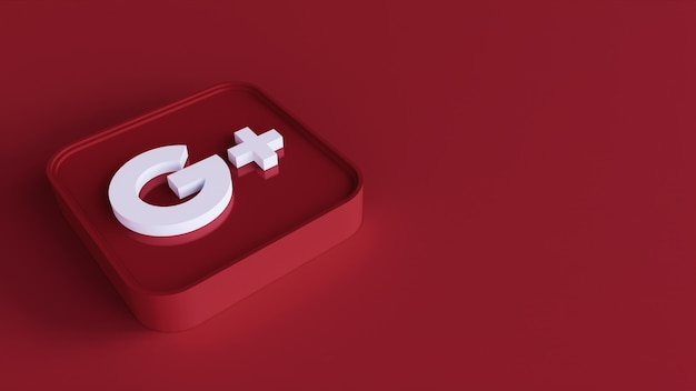 Google plus square button icon 3d with copy space. 3d rendering
