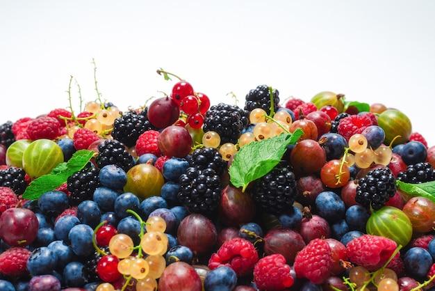 グーズベリー、ブルーベリー、桑、ラズベリー、白と赤のスグリが白い表面に分離されています。