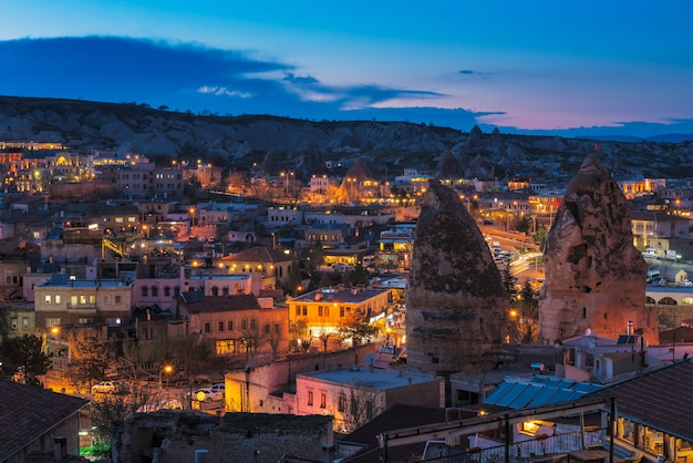 Goreme ancient city view after twilight, cappadocia in central anatolia, turkey