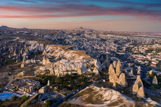 Goreme town in cappadocia, turkey.