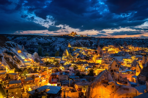 Goreme town at twilight in cappadocia, turkey.