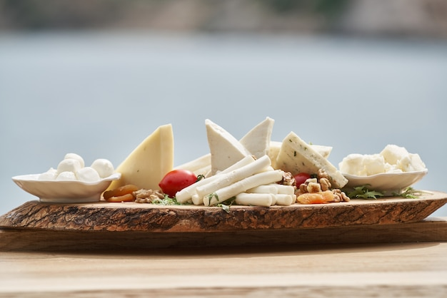 Gorgeous cheese platter and background