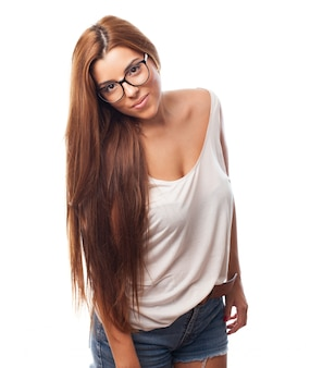 Gorgeous girl with long hair in glasses