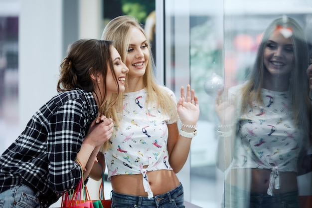 Gorgeous girls in shopping mall