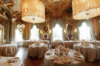 Gorgeous Italian hall with paintings on the wall
