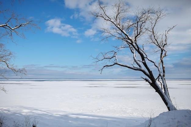 砂漠のような氷の凍った湖のゴージャスな風景、冬の夕日、背景、コピースペース