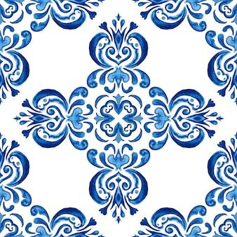 Великолепный бесшовный синий цветочный узор акварель восточные плитки дизайн ткани. турецкий орнамент