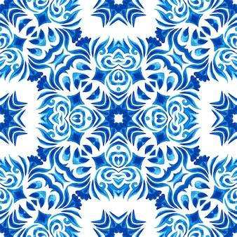 Gorgeous seamless blue watercolor pattern oriental tiles fabric design . turkish ornament. moroccan mosaic. spanish porcelain ceramic tableware, folk print. spanish pottery seamless wallpaper.