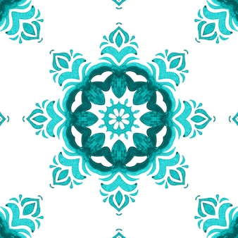 Gorgeous seamless blue watercolor pattern oriental tiles fabric design. turkish ornament.