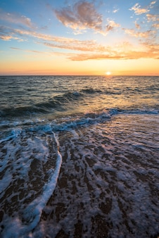 Gorgeous sunset on the sea coast.