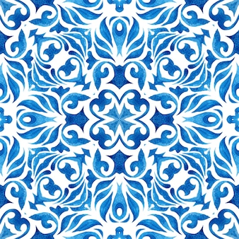 Gorgeous texture background. portuguese kafel wall in classic style. watercolor paint ceramic tile
