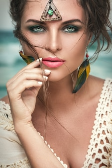 Gorgeous woman with a beautiful and penetrating glance