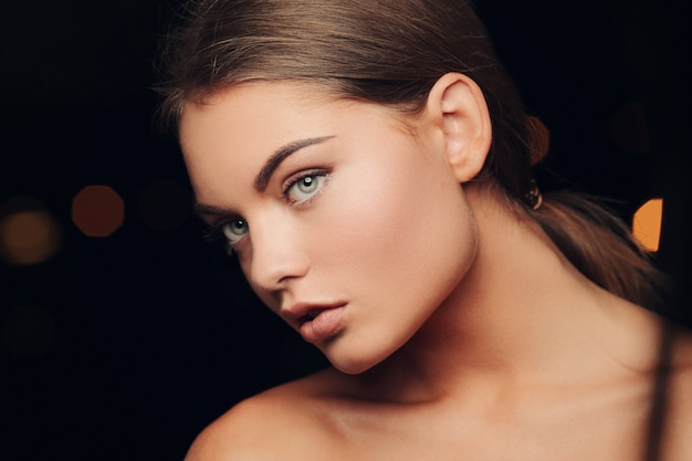 Gorgeous woman with blue eyes