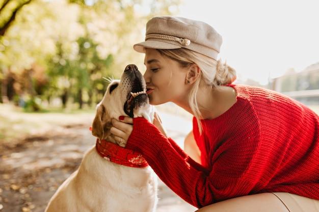 赤いセーターと軽い帽子のゴージャスな若いブロンドは、秋の公園で彼女のラブラドールを愛してキスします。屋外で完璧な晴れた週末を過ごしている美しい少女とペット。
