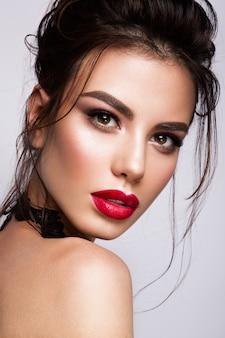 Gorgeous young brunette woman face portrait.