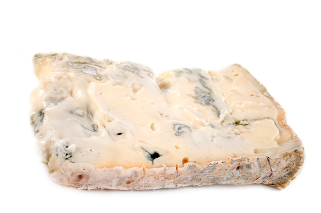 Gorgonzola slice on white
