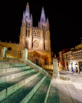 Gothic cathedral of burgos at night. wide-angle photo. spain. castilla.