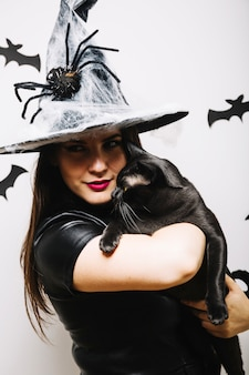 Gothic woman with black cat