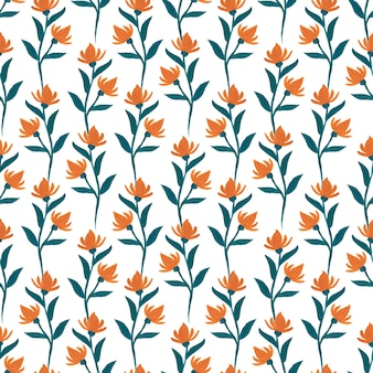 Gouache orange flowers seamless pattern.