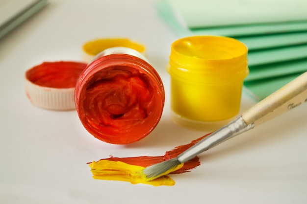 Gouache paints-red and yellow, brush stroke