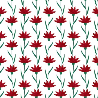 Gouache red flowers seamless pattern.