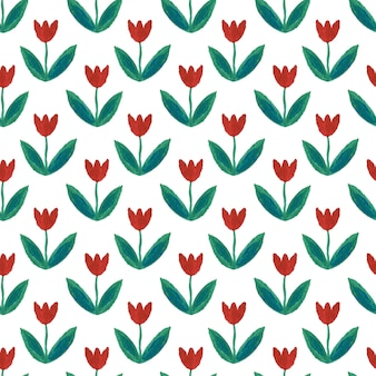 Gouache seamless pattern with tulips.