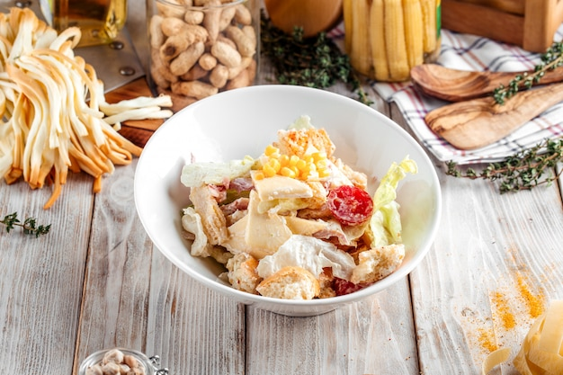 Gourmet caesar salad with chicken iceberg lettuce