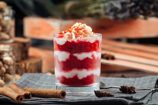 Gourmet layer dessert parfait red velvet cake