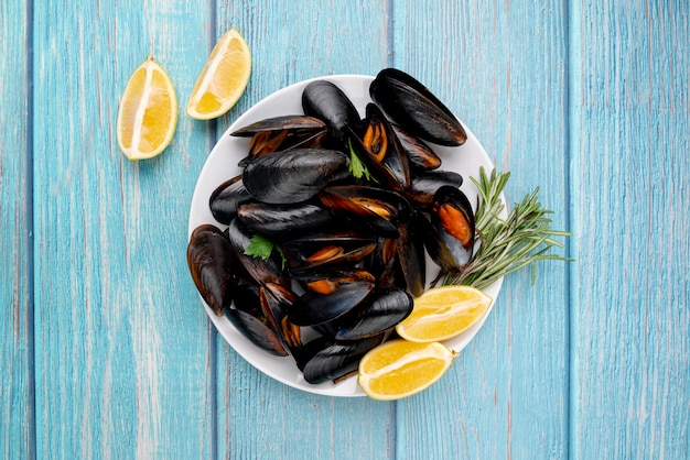 Gourmet mussels dish in flat lay