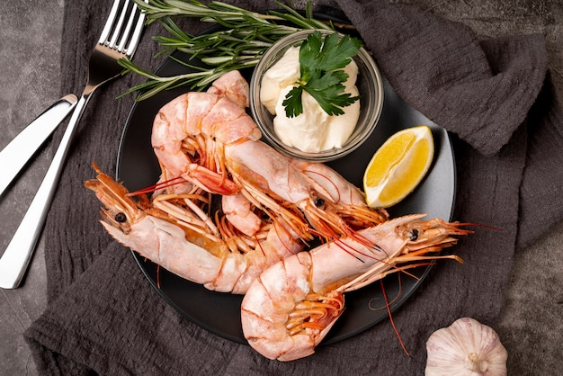 Gourmet shrimps on plate close up