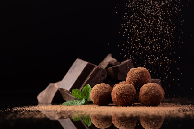 Gourmet truffles with cocoa