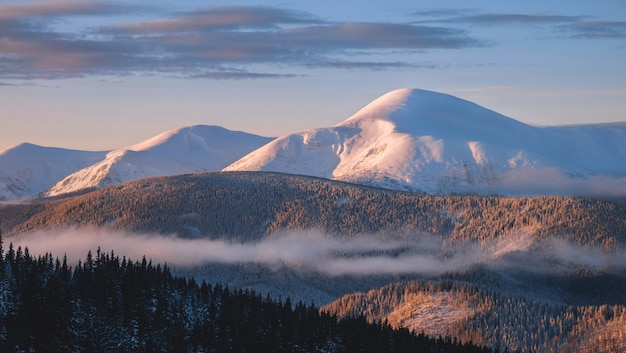 Goverla winter mountain in snow at sunrise