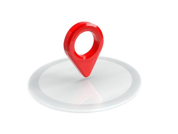 Красная карта указатель на подиуме. красный указатель gps. изолированы. трехмерный рендеринг. 3d представляют иллюстрацию.