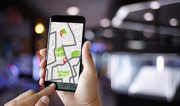 경로 목적지 네트워크 연결을위한 gps지도 gps 아이콘이있는 거리지도 naviga
