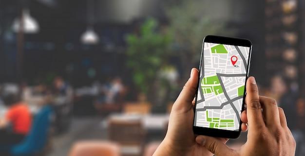 경로 목적지 네트워크 연결을위한 gps지도 gps 아이콘 네비게이션이있는 거리지도