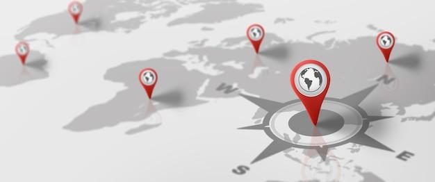 핀 아이콘이 있는 gps 탐색 거리 지도 물류 지리 교통 여행 및 탐색