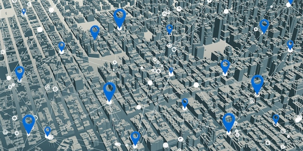 Gps pins on simulated urban landscape maps. gps network connection in 5g and 6g system 3d illustration