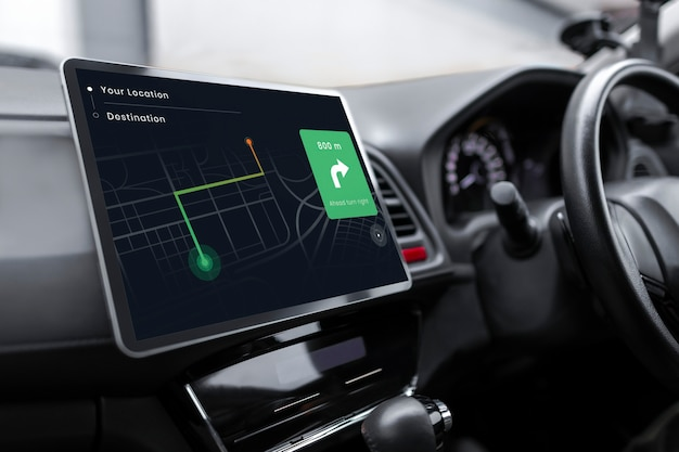 Sistema gps in un'auto intelligente