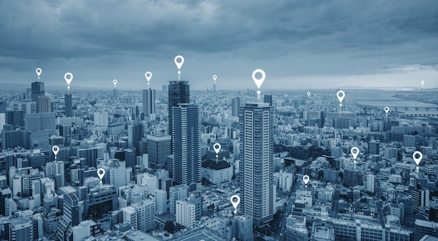 マップピンgpsナビゲーション技術、および市内の無線技術